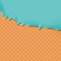Realistic waffle with melting icecream, vector illustration