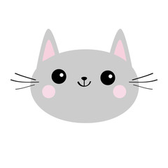 Gray cat head face silhouette icon. Cute cartoon kitty character. Kawaii animal. Funny baby kitten with eyes, mustaches. Love Greeting card. Flat design. White background Isolated.