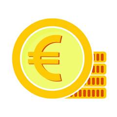 Euro coins Stack Vector Icon