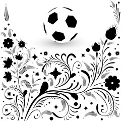 Background on the theme of football. Background with ball and pattern in Russian style.