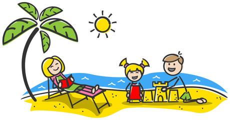 Familie fröhlich am Strand im Urlaub Strichfiguren gezeichnet