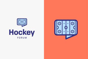 Ice hockey rink logo. Editable vector logo design.