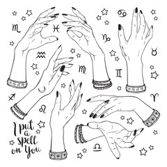 Hand drawn set of female witches hands in different poses. Flash tattoo, sticker, patch or print design vector illustration.