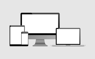 Set of realistic Computer, Laptop, Tablet and mobile phone. Modern flat screen computer monitor