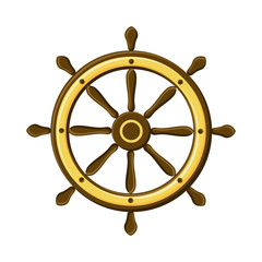 Vintage ship wheel isolated on white background. Symbol of navigation.