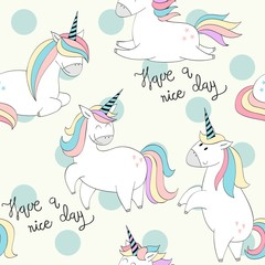 Vector seamless pattern with Magic cute unicorns.