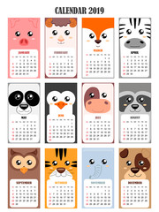 Calendar 2019 with pig,sheep,fox, zebra, panda, penguin, cow, raccoon, owl, tiger, elephant, dog