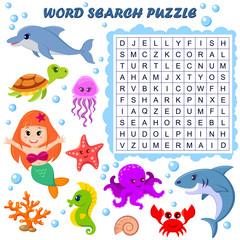 Word search puzzle. Vector education game for children. Sea animals