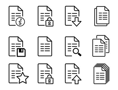 Vector file icons with folded corner different symbols