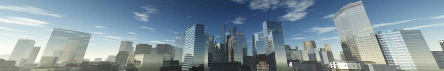 panorama of a modern city, view of skyscrapers,