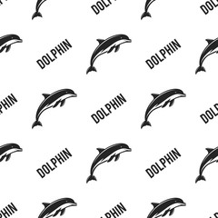Dolphin seamless with typography sign. Wild animal wallpaper. Stock pattern isolated on white background. Retro monochrome design. Vintage hand drawn effect