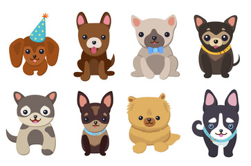 Dogs and Puppies Set Poster Vector Illustration