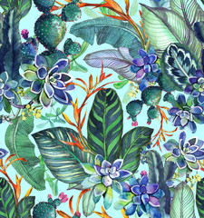 Tropical seamless pattern with succulents, tropical leaves. Botanical background