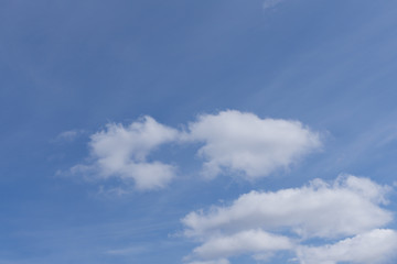 Deep blue sky on sunny day with clouds .