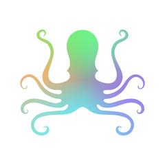 Colorful Octopus Icon. Stilized Logo Design. Sea Food Symbol.