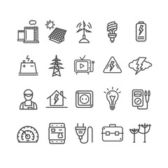 Electricity Signs Black Thin Line Icon Set. Vector