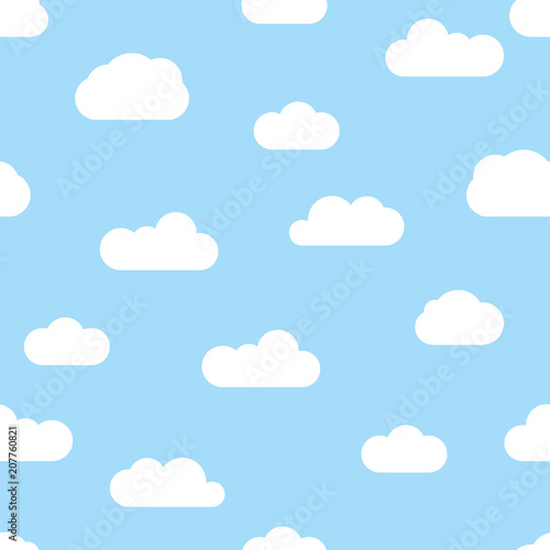 Seamless background with blue sky and white cartoon clouds  Vector