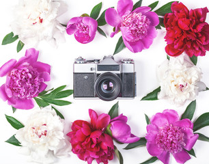 Floral frame made of pink and white peonies and leaves with retro photo camera on white background. Flat lay. Top view.