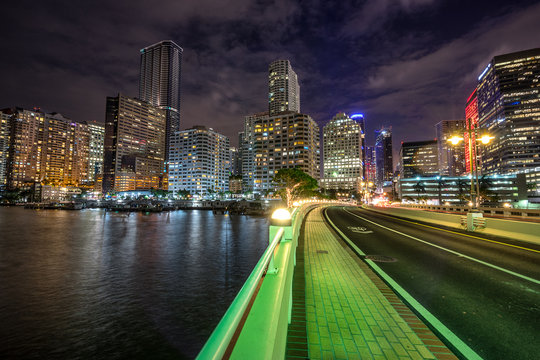 Looking across the Miami River to Brickell in Miami Florida