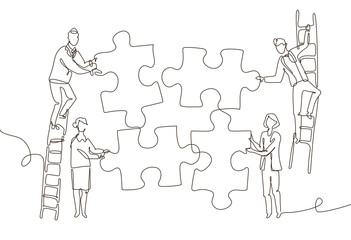 Business team doing a puzzle - one line design style illustration