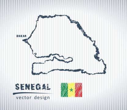 Senegal vector chalk drawing map isolated on a white background