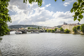 The View from embankment of Prague