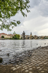 Scenic spring view of the Old Town pier architecture and Charles Bridge