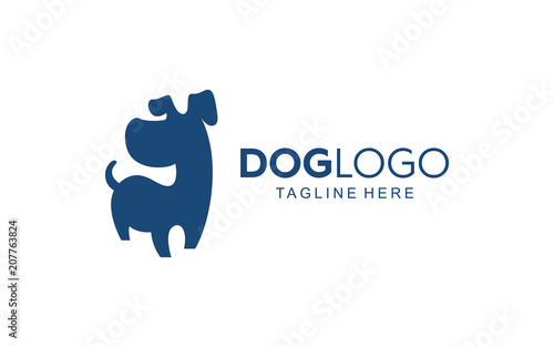 Puppy Cute Dog Logo Simple Sillhouette Icon Design Vector Stock