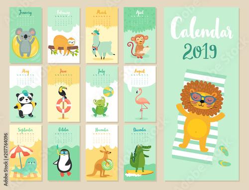 Wall mural Calendar 2019. Cute monthly calendar with forest animals.