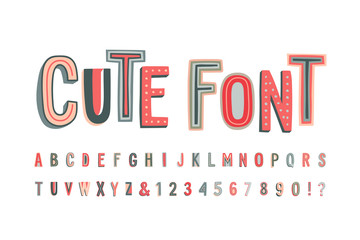 Wall Mural - Uppercase cute alphabet font. Letters, numbers and symbols.