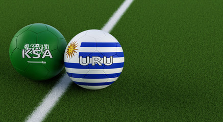 Uruguay vs. Saudi Arabia Soccer Match - Soccer balls in Uruguays and Saudi Arabian national colors on a soccer field. Copy space on the right side - 3D Rendering