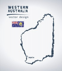 Western Australia national vector drawing map on white background