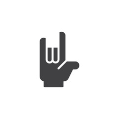 Heavy Rock hand gesture vector icon. filled flat sign for mobile concept and web design. Horns Up Heavy Metal Sign simple solid icon. Symbol, logo illustration. Pixel perfect vector graphics