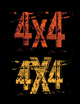 Off-Road grunge 4x4 lettering