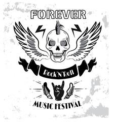 Forever Rock n roll Music Fest Vector Illustration