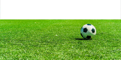 Soccer ball on grass against white background
