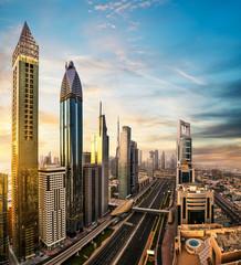 Dubai sunset panoramic view of Burj Khalifa