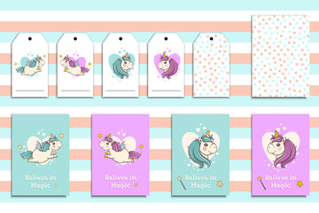 Postcards set with cute flying unicorns and his portrait. Cartoon hand drawn unicorn. Vector illustration.