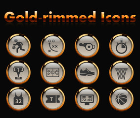 basketball gold-rimmed vector icons with black background