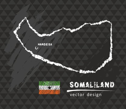 Somaliland map, vector pen drawing on black background