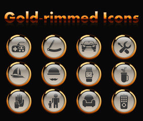 fathers day gold-rimmed vector icons with black background