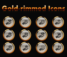 insurance gold-rimmed vector icons with black background