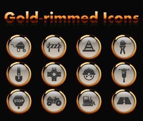 road repairs gold-rimmed vector icons with black background