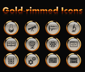 sciences gold-rimmed vector icons with black background