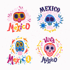 Vector collection of Mexico emblems with ornament skull, text, traditional pattern isolated on light textured background. Perfect for party decor material - stickers, posters, prints, package, labels.