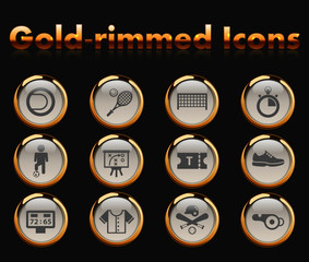 sport gold-rimmed vector icons with black background