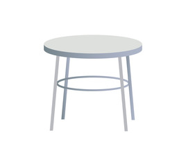 Rounded White Table Object Vector Illustration