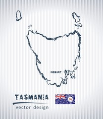 Tasmania national vector drawing map on white background