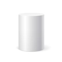 White cylinder on white background