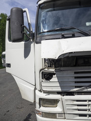 Truck damaged an accident.